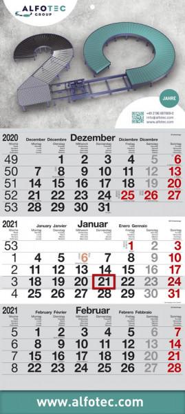 Speditionskalender 29 x 66 cm Grau