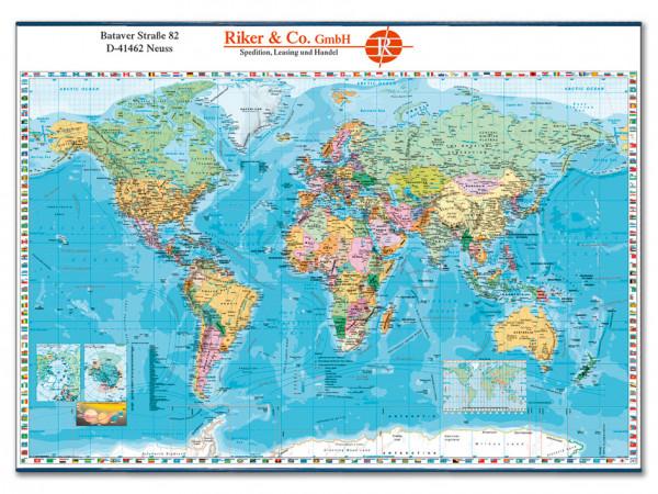 Weltkarte mit Flaggen deutsch