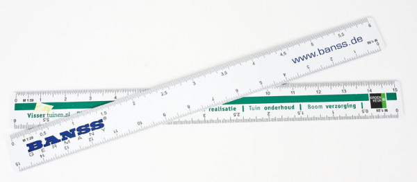 Reduktionslineal inkl. Druck 1-farbig, 2-seitig